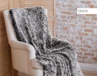 Frosted Shaggy Throw in Onyx Dark Grey
