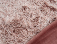 Frosted Shaggy Throw in Woodrose Pink with velour reverse.