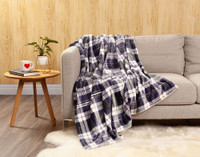 Inverness Plaid Throw in Navy