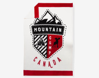 Design of Canada Scout Fleece Throw depicts a logo with bright red borders on a cream background.