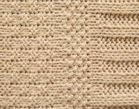 Close up of cable knitting on Bailey Knit Throw Blanket in Oatmeal Beige.