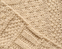 Close up of pattern on Bailey Knit Throw Blanket in Oatmeal Beige.