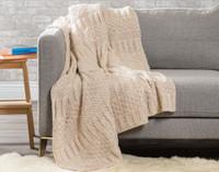 Bailey Knit Throw Blanket in Oatmeal Beige.