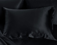 100% Mulberry Silk Pillowcase in Black with background