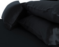 Stack of 100% Mulberry Silk Pillowcases in Black