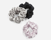 Silk Scrunchies in Silver, Black, and Lavender