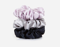 Silk Scrunchies in Lavender, Silver, and Black
