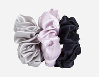 Silk Scrunchies in Silver, Lavender, and Black