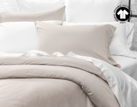 Side view of 300TC Organic Cotton Duvet Cover in Stone