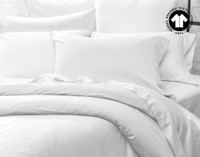 Side view of 300TC Organic Cotton Duvet Cover in White