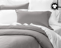 Side view of 300TC Organic Cotton Duvet Cover in Sleet