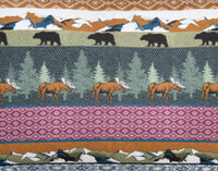 Great Frontier Cotton Quilt Set rustic mountain print close-up