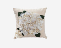 Hydrangea Textured Square Cushion Cover - White
