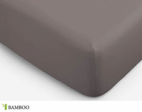 Bamboo Cotton Fitted Sheet in Slate, a warm grey with brown undertones