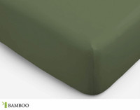 Bamboo Cotton Fitted Sheet in Olivine, a rich green