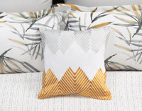 Tobago Square Cushion pictured with Pillow Shams.