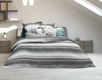 Berkeley Bedding Collection featuring a striped pattern in light silver to dark charcoal grey