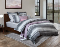 Berkeley Bedding Collection side view featuring a striped pattern in light silver to dark charcoal grey