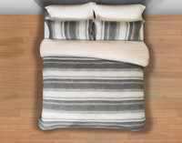 Berkeley Bedding Collection top view featuring a striped pattern in light silver to dark charcoal grey