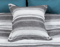 Berkeley Euro Sham featuring a horizontal striped pattern in light silver to dark charcoal grey