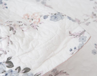 Close up of the botanical print on white cotton shell background.