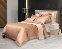 Sovereign Collection 800TC SUPIMA Cotton Duvet Cover Set features a fine sateen weave and brushwood gold colouring.
