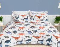 Bronto coverlet set featuring an array of dinosaurs in shades of red, grey, and blue on a white background.