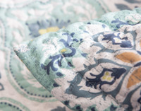 Close up of pillow shams edging on Bali Coverlet Set.