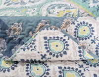 Close up of seams on Bali Coverlet Set, which is a take on traditional patchwork quilts in shades of green and blue.