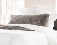 Frosty Lumbar Pillow in Titanium, a soft grey.