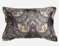 Tristan Paisley Pillow Sham, a classic and luxurious paisley in rich colours of chocolate brown, purple slate, and teal reversing to a complimentary mini link pattern.