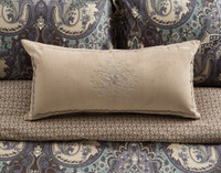 Tristan Boudoir Cushion Cover in tan with a crosshatch border and a tone on tone paisley symbol in the center, shown with the main pattern.