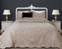 Cavendish Cotton Quilt Set features French inspired medallions and small fleur-de-lis all in a soft taupe.