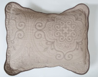 Cavendish Cotton Pillow Sham, featuring an off-centre medallion print in taupe.