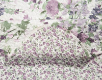 Close up showing both front and reverse of the Brittany Floral Coverlet Set.