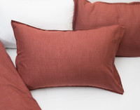 Linen Blend Pillowcases in Apple Butter Red