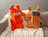Reddy Fox Cuddle Cushion and Morley Moose Cuddle Cushion Back View With Books in Back Pocket