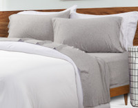 TENCEL™ Modal Jersey Sheet Set in Granite with White Duvet Cover
