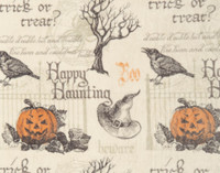Close up of Haunting Halloween Fleece Throw featuring jack o' lanterns, black ravens, and gothic script on a cream background.