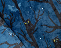 Close up watchful black owl on a rich blue background.