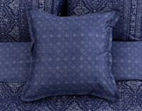 The Sumatra Euro sham is a sapphire blue with a delicate silver diamond pattern.