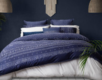 The Sumatra collection is based on a classic Batik pattern in shades of sapphire blue and silver-grey.