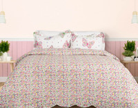Mari Coverlet Set, reverse side with floral print