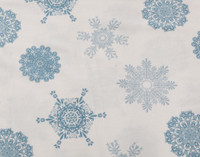 Close up of blue snowflakes on Flannel Cotton Sheet Set in Snowflake.