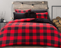 Danner Flannel Duvet Cover Set in Red and Black Plaid, front view.