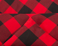 Danner Brushed Flannel Duvet Cover Set in Red and Black Plaid piped edge.
