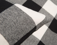 Rupert Flannel Duvet Cover Set Pillow Sham in Black and White Plaid Corner