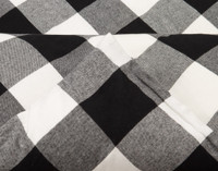 Rupert Flannel Duvet Cover Set in Black and White Plaid piped edge