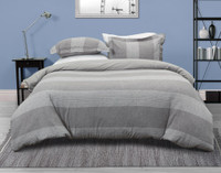 Front view of the Nathan Linen Blend Duvet Cover Set featuring a horizontal striped pattern in shades of grey which reverses to a light grey.