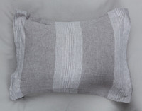 Linen Blend Pillow Sham features vertical stripes in shades of grey.